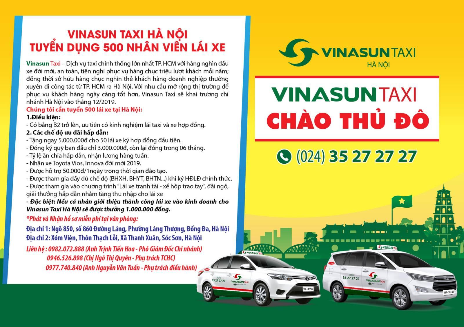 Vinasun Taxi Hà Nội tuyển dụng 500 nhân viên lái xe