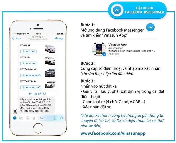Đặt xe Vinasun qua facebook messenger